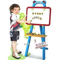 kidzone 3 In 1 Educational Magnetic White Chalk Board Learning Easel For Kids 84 Pcs