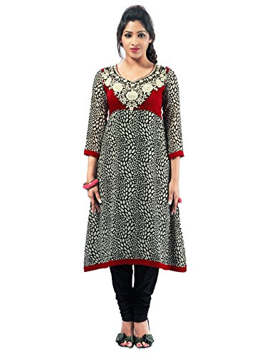 Admyrin Women's Georgette and Velvet Black Embroiderd Kurti