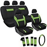 OxGord 17pc Black & Green Flat Cloth Seat Cover Set for the Kia Soul Hatchback, Airbag Compatible, Split Bench, Steering Wheel Cover Included