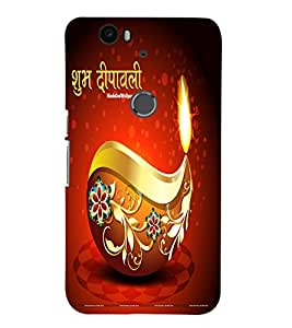 Fuson Subh Diwali Quote Case Cover for Huawei Google Nexus 6P