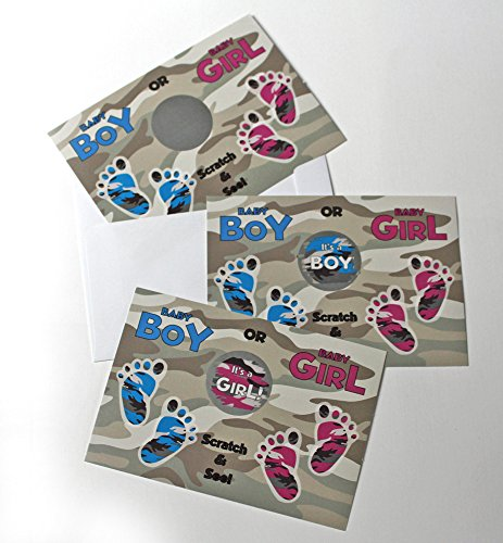 Scratch Off Gender Reveal Military Camo Camoflague Postcards & Envelopes Qty 25 - 1