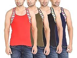 Zippy Men's Rapid Sleeveless Multi color Vest (Pack of 4)