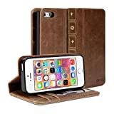 Gmyle Book Case Vintage for iPhone 5 & 5S - Crazy Horse Pattern