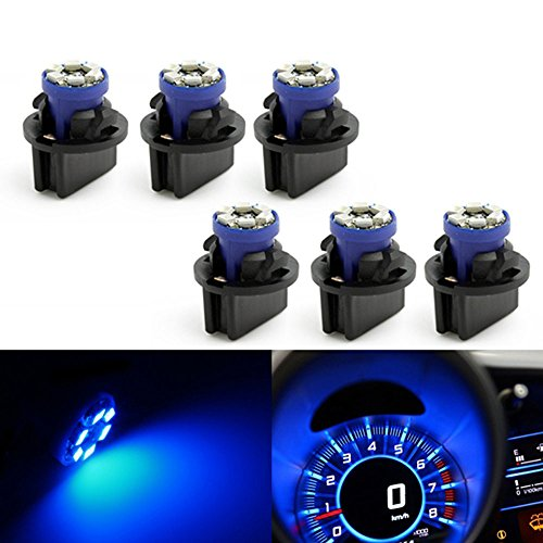 Partsam 6 Pc168 Pc194 Twist Lock Blue Instrument Panel Dash Light Bulb Base Socket