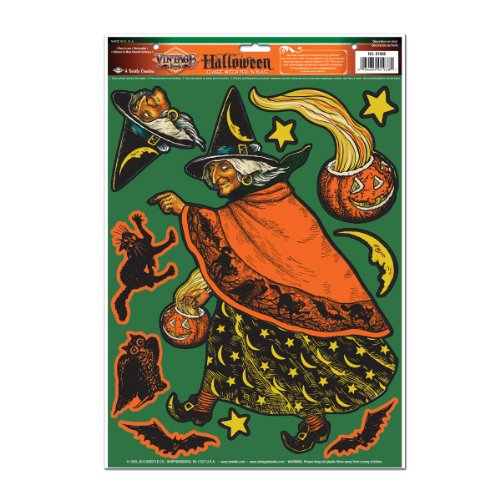 Beistle Classic Witch Peel 'N Place for Halloween Party, 12-Inch by 17-Inch
