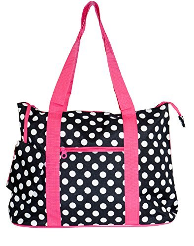 Ever Moda Black White with Pink Trim Polka Dots Tote Bag X-Large 21-inch