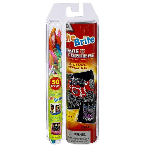 Lite Brite TRANSFORMERS Picture Refill Set with BONUS 50 Pegs! - 1