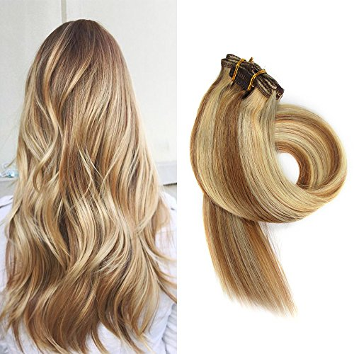 BETTY Clip In Human Hair Extensions 15 18 20 22 Inch 7pcs 70g Set Silky Straight Human Remy Hair Omber Color (15inch, #12/613)