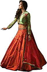 Akshar Creation's banglori anarkali orange and green lehenga choli(lehenga _02_orange and green)