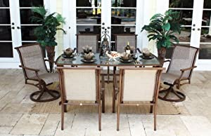 Chub Cay Patio 7 Piece Arm Chair and Slatted Table Set