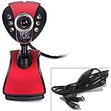 HDE 12 Megapixel 6 LED Webcam USB Online Chat Camera with 3.5mm Mic for Desktop PC Laptop