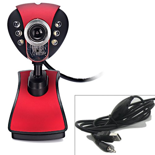 Hde Metallic Red Webcam W/ Usb 2.0 Male Type A Cable W/ Microphone And 6 Led Lights For Night Vision