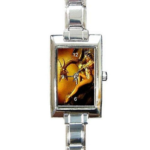 Golden Dragon and Dragon ELF Queen on a Rectangular Silver Italian Charm Watch.. Think Small Wrist