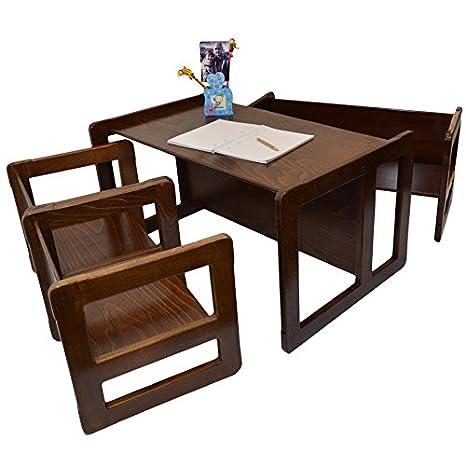 3 en 1 Muebles Para Niños Juego de 4 Dos Pequeñas Mesas Sillas y Una Mesa Banco Pequeña y Una Mesa Banco Grande Hechan de Madera de Haya Oscura