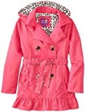 Pink Platinum Girls 7-16 Double Leopard Trench, Fuchsia, 10/12