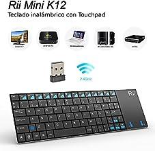 Rii K12 mini teclado inalámbrico RF ultrafino multifunción con touchpad de gran tamaño, cubierta de acero inoxidable y batería Li-ion interna compatible con Samsung Galaxy Tablet , Smart TV,Raspberry PI B B+ , MacOS,Linux, Android,XBMC,Kodi,Windows 2000/ XP /Vista/ 7/ 8 , Sony PS3, HTPC, Android TV BOX(layout Español)