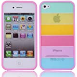 niceEshop(TM) Pink Side Lims Rainbow color Pattern cover case fit for iphone4 4G 4S + Screen Protector + niceEshop Cable Tie