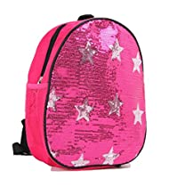 Dance Bag- Solid Sequin Front With Stars Backpack in Pink Fushia