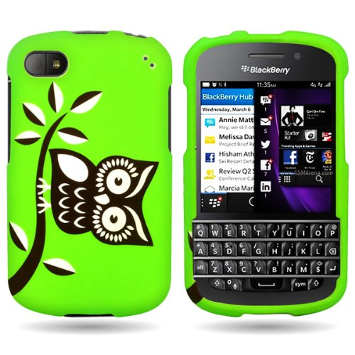Coveron® Green Hard Cover Case With Black White Owl Design For Blackberry Q10 With Pry- Triangle Case Removal Tool