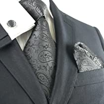 Landisun 261 Black Paisleys Mens Silk Tie Set: Tie+Hanky+Cufflinks Exclusive
