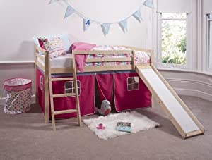 Cabin Bed in Pine Mid Sleeper Bunk with Slide Pink Tent 66PINE