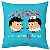 Valentine Gifts for Boyfriend Girlfriend Blue 12X12 Printed Filled Cushion Love Prescription Gift for Him Her Fiance Spouse Husband Wife Birthday Anniversary Everyday
