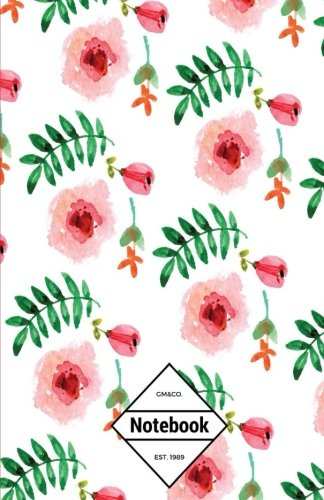 gmco-notebook-journal-dot-grid-lined-graph-120-pages-55x85-watercolor-red-pink-lily-flower