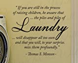 Thomas S Monson Laundry - Cleaning Clothes Room Mom Mother LDS Mormon Kids - Decorative Vinyl Lettering Quote, Wall Decal Art, Sticker Graphic Decor, Saying Decoration