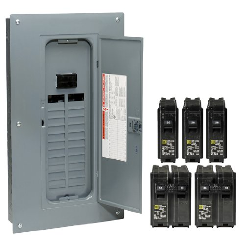Square D by Schneider Electric HOM24M100VP Homeline 100 Amp 24-Space 24-Circuit Indoor Main Breaker Load Center with Cover Value Pack (Homeline Panel 100 Amp compare prices)