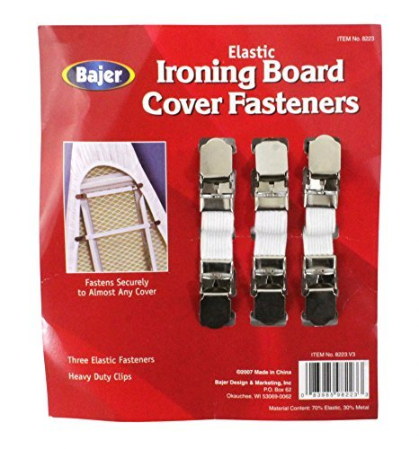BAJER Elastic Ironing Board Fasteners - 3-Piece Set (Ironing Board Cover Clips compare prices)