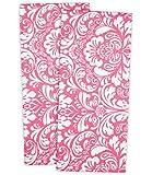 DII 100% Cotton, Machine Washable Oversized, Everyday Kitchen Basic Printed Damask Kitchen Dishtowel, Set of 2, Pink