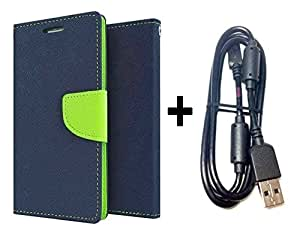 Bcbgmaxazria Mercury Wallet Flip Case Cover For Lg Google Nexus 6 (Blue) With Sony Usb Charging Data Cable