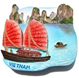 Halong Bay Vietnam Junk Sailing Ship 3D Resin TOY Fridge Magnet Free Ship