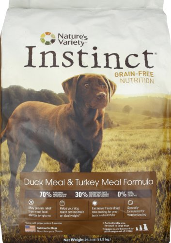 Instinct Grain-Free Duck Meal & Turkey Meal Dry Dog Food by Nature's Variety, 25.3-Pound Package