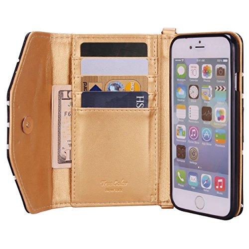 06. iPhone 6 6s Wallet Case, True Color© Premium Leatherette Polka Dots Wristlet Clutch Folio Tri-Fold Wallet Purse Case Cover - Black