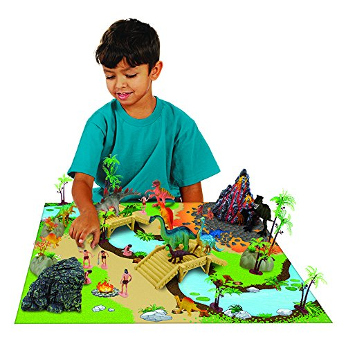 100 Piece Dinosaur And Cave Man Prehistoric Playset With