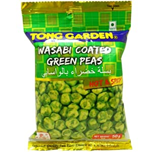 Crispy Wasabi Coating Green Peas Snack Hot Spicy Net Wt 50 G 176 Oz Tong Garden Brand X 2 Bags by Tong Garden Co,.Ltd. Thailand.