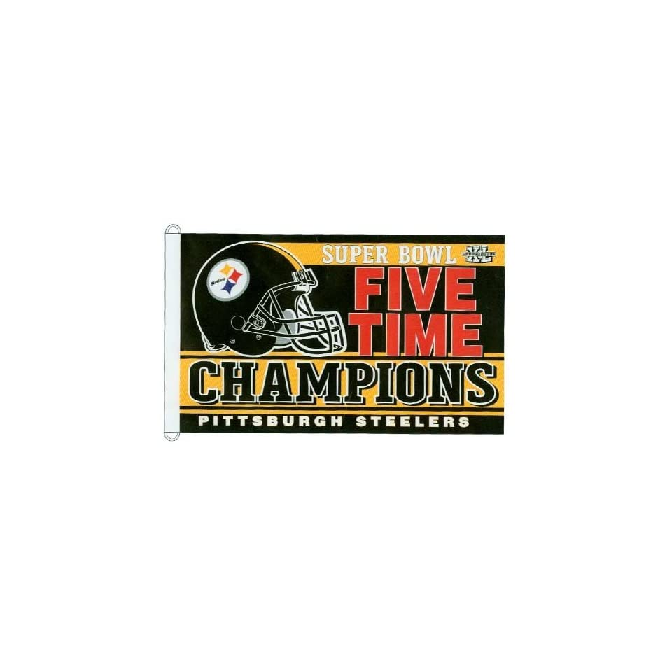 NFL Pittsburgh Steelers 5X Super Bowl XL Champions 3'x5' Flag  Sports Related Merchandise  Sports & Outdoors