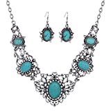 Yazilind Hollow Tibetan Sliver Green Rimous Oval Turquoise Bib Collar Earrings Necklace Jewelry Set Women thumbnail