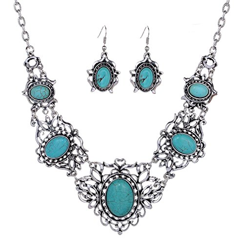 Yazilind Hollow Tibetan Sliver Green Rimous Oval Turquoise Bib Collar Earrings Necklace Jewelry Set Women image