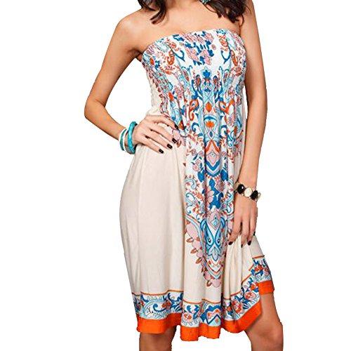 Ksweet Abito fantasia Vestiti donna estivi top senza Abiti Corto Maniche Spiaggia Vestito