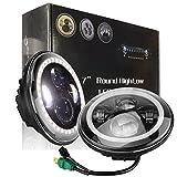 MicTuning 7インチJEEP用LEDヘッドライト 汎用型 「Hi/Lo」 爆光40W 10V/30V兼用 防水等級IP67  Wrangler JK LJ TJ ハーレー・バイク(2個セット)