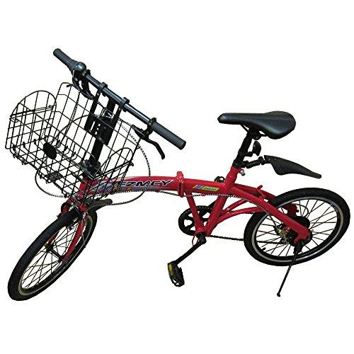 【スポーツデザインフレーム】FZMCY 20インチ 折りたたみ自転車 シマノ6段変速機【PL保険加入済み】 (レッドかご有り)