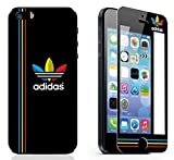 【 ADIDAS  アディダス 】 Black & Red・Yellow・Blue (黒×赤・黄・青) iPhone5/5s 対応 液晶保護 ガラス フィルム (耐衝撃・指紋軽減・気泡防止機能付)