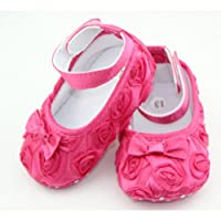 DDU(TM) 1 Pair Hot Pink- Rose Style Soft Warm Princess Shoes for Baby Girl(Size: 13cm) from DDU