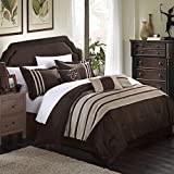 Chic Home Torino Pleated Piecing Luxury Bedding Collection 7-Piece Comforter Set, King, Taupe