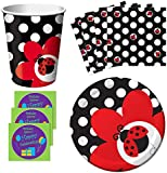 Fancy Ladybug Birthday Party Supplies Set Plates Napkins Cups Kit for 16 Plus Stickers