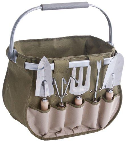 zeller-16002-garten-set-m-korb-6-tlg-polyester-metall-holz-39-x-29-x-32-cm