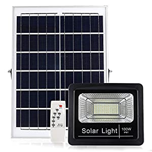 Solar Powered Street Flood Light Outdoor 100W, 3800 lumens IP67 Waterproof Solar Flood Lights with Remote Control Switch, Dusk to Dawn Security Lighting for Garden, Farm, Pool, Basketball Court (Color: Black, Tamaño: 100W)