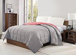 CARIBBEAN JOE Victoria Classics Reversible Blanket, Full, Gray/Peach by CARIBBEAN JOE